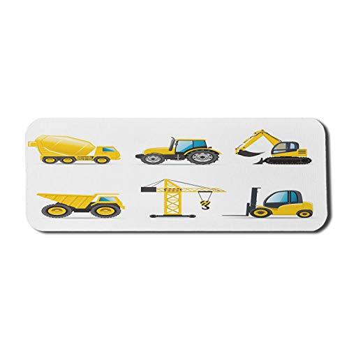 Cartoon Computer Mauspad, Stil schwere Maschinen LKW Kran Bagger Mixer Traktor Konstruktion, Rechteck rutschfeste Gummi Mousepad groß gelb und grau