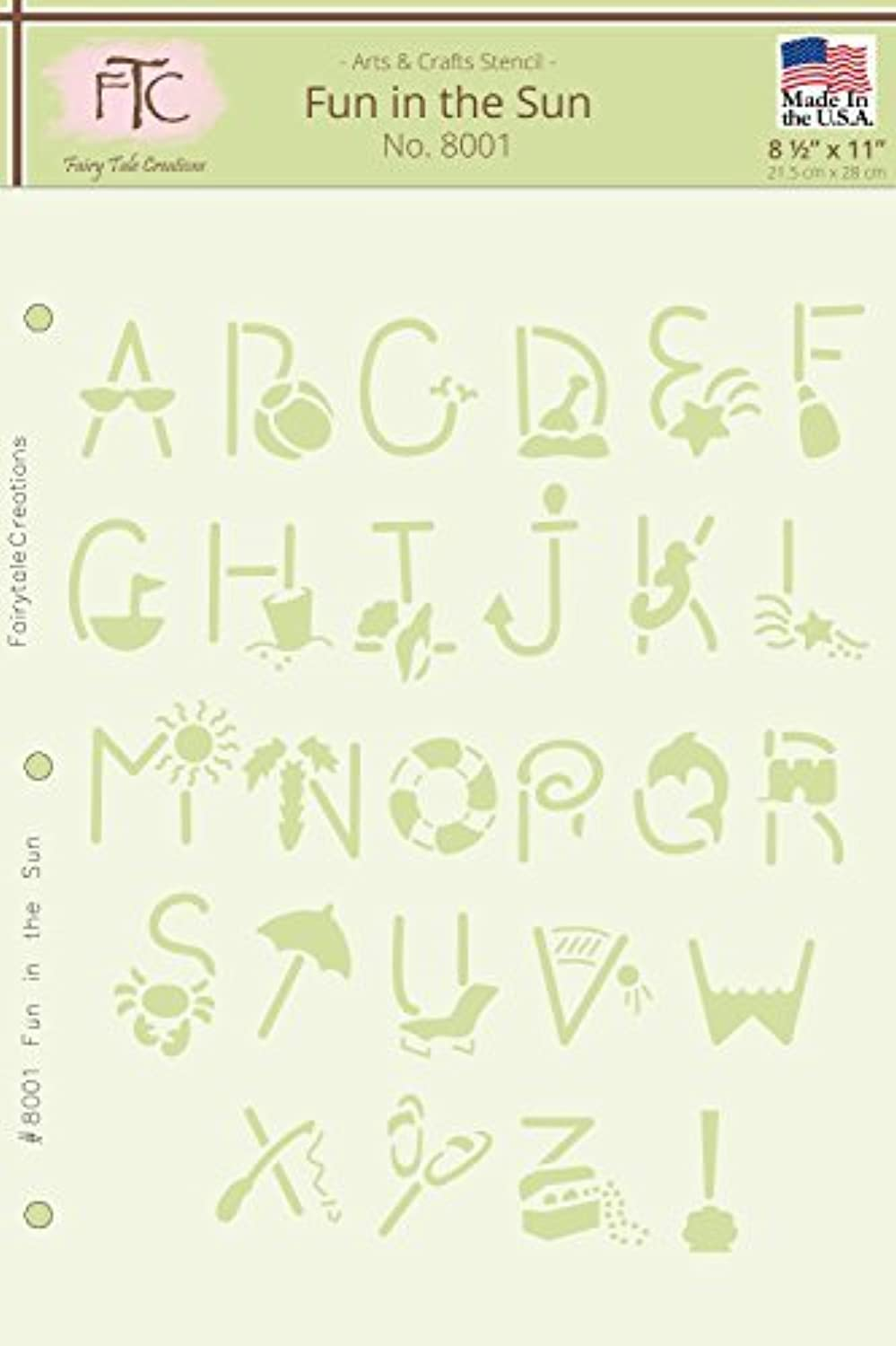 Fairytale Creations Fun in the Sun Alphabet Stencil, 8.5 L x 11 H by Fairytale Creations B01KB7E0M0 | Sonderkauf