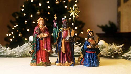 Set of 4 Following Star with Gifts 10 inch Resin Stone Nativity Figurines