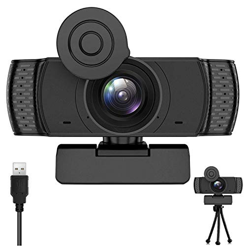 Webcam with Microphone, 1080P HD Webcam Streaming with Tripod USB Computer Webcam[Plug and Play] for PC Video Conferencing/Calling/Gaming, Laptop/Desktop Mac, Skype/YouTube/Zoom/Facebook
