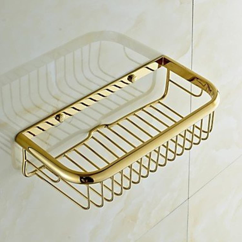 WYMBS gold-plating Brass Square Bathroom Multi-functional Basket Shelf Bathroom Accessories
