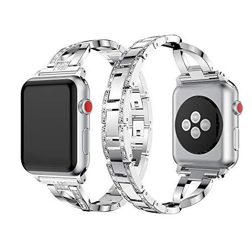 Dassions Metal Cuff Bangle Bracelet Bling Rhinestone Diamond Wristband X-Link Glitzy Strap Band for Apple Watch Band 38mm 40mm Women Iwatch Series 6 Series 5 4 3 2 1 SE (38mm/40mm Silver)