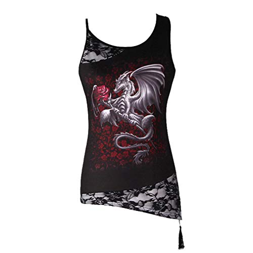 Yuandongxing Chaleco 3D Top Cráneo Gótico Tops Punk Rock Camiseta Remiendo Encaje Floral Blusa tee Mujer