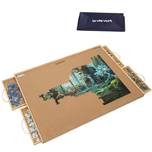 LAVIEVERT Puzzletisch, Puzzle-Plateau, Puzzle-Brett mit Vier Schiebeschubladen, staubdichter Abdeckung und Puzzle-Matte für bis zu 1.500 Teile