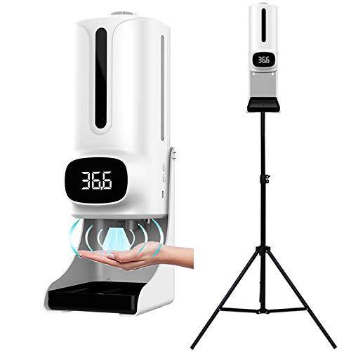 WOERD Set de Dispensador de Jabón Automático con Soporte Dispensador de Spray Desinfectante Touchless 1200ML con Soporte de Acero Inoxidable,para Oficinas, Escuelas Públicas