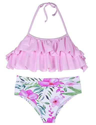 Hilor Girl's Bikini Set Crop Flounce Two Piece Swimsuits Kids Haler Bathing Suits Pink Floral 9-10 Years