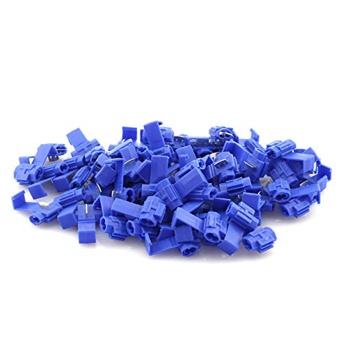 ZYAMY 100pcs Scotch Lock Quick Splice Wire Terminals Cold Pressed Insulated Snap Lock Electric Wire Crimp Connectors Cable Joiner Blue for AWG 16-14