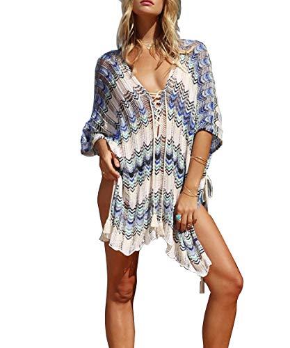 ShinyStar Damen Strandponcho Sommer Gestrickte Strandkleid Bikini Cover Up Boho Sommerkleid Einheitgröße (Weiß Blau)