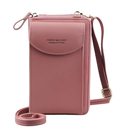 Jangostor Femmes Portefeuille Sac À Bandoulière En Cuir Porte Monnaie Téléphone Portable Mini Pochette Porte Carte Épaule Portefeuille Sac (pink)