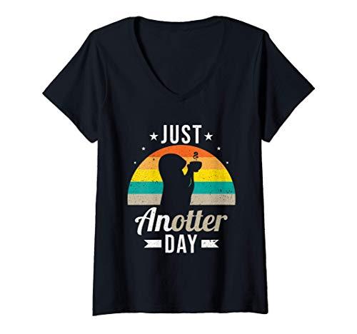 Damen Lustiges Just Anotter Day Otter Kaffee trinken Coffee T-Shirt mit V-Ausschnitt