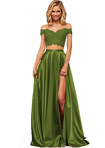 Lover Kiss Women's Long Lace Satin Prom Gown With Slit 6 Olive Green