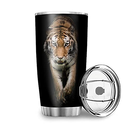 Jaccober Vaso de 20 onzas de acero inoxidable 18/8, doble pared, taza de café con tapa, color blanco, 600 ml