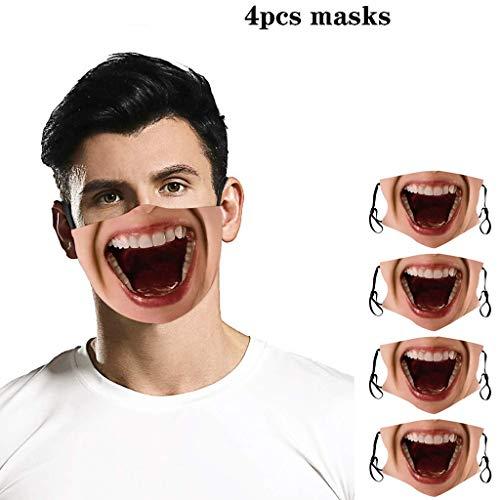 eiuEQIU Unisex Baumwolle Gesichtsschutz mit Totenkopf-Aufdruck,Mund und Nasenschutz Staubschutz mit 3D Motiv für Männer Frauen Outdoor-Aktivitäten