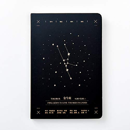Cuaderno Retro Libro de Diario A5 Doce Constelaciones Cuaderno de líneas Páginas Diario Cuaderno de Notas Refiller Planificador de Papel