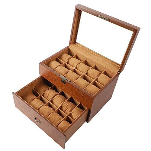 Caja expositora de reloj de madera maciza con 2 capas para guardar anillos, pendientes, relojes, pulseras y collares (con luz superior)