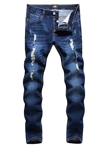 ZLZ Men's Ripped Skinny Distressed Destroyed Slim Fit Stretch Biker Jeans Pants with Holes Blue