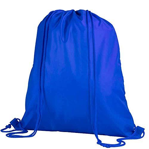 COSAS43 DETALLES PARA INVITADOS BODA-COMUNION-BAUTIZO Bolsa Mochila Azul Cordones a Tono. Lote de 10 Unidades.