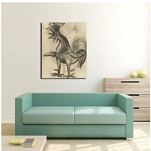 nr Pablo Picasso Der Hahn Leinwand Malerei Druck Wohnzimmer Wohnkultur Moderne Wandkunst Malerei Poster -50x70cm Rahmenlos