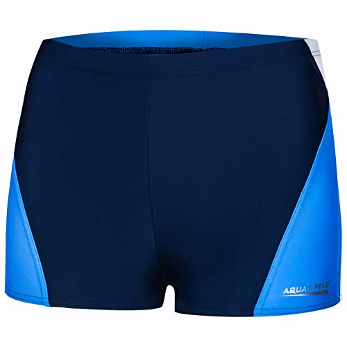 Aqua Speed Herren Badehosen kurz I Enge Schwimmhosen für Männer | UV Swimwear blau I Mens Badepants I Swim Trunks Tight I Badebekleidung modern I Alex, Gr. XXXL, 452/Navy White Blue