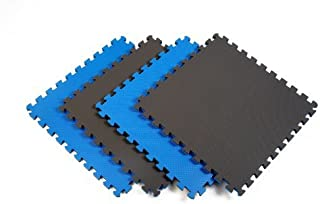 Norsk-Stor 240175 Reversible Recyclamat Sport Multi-Purpose Foam Flooring, Blue/Black, 4-Pack