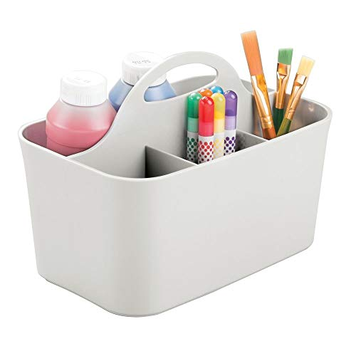 mDesign Plastic Portable Craft Storage Organizer Caddy Tote, Divided Basket Bin for Craft, Sewing, Art Supplies - Holds Paint Brushes, Colored Pencils, Stickers, Glue, Yarn - Small - Light Gray