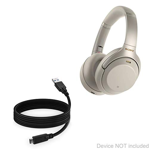 Cabo Sony WH-1000XM3, BoxWave [DirectSync – USB 3.0 A para USB 3.1 Tipo C] Cabo de carregamento e sincronização USB C para Sony WH-1000XM3 – 1,8 m – Preto