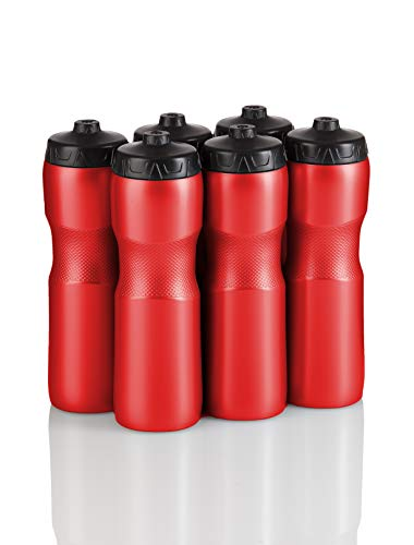 50 Strong Brand Jet Stream Sports Squeeze Water Bottle with One-Way Valve - Team Pack –...