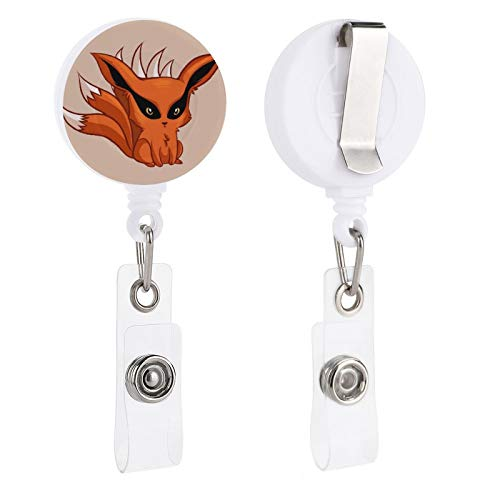 Na-ruto Nine Tail Fox Retractable Badge Holder Reel Clip, ID Badge Clips for Kids Office Staff Student