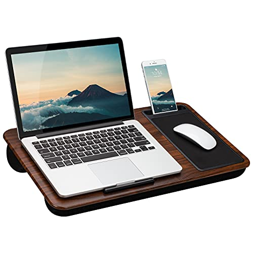 LapGear Home Office Lap Desk with Device Ledge, Mouse Pad, and Phone Holder - Espresso Woodgrain - Fits Up to 15.6 Inch Laptops - Style No. 91575