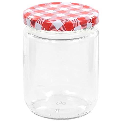 Festnight Botes Conservas Cristal Tarros de Cristal con Tapas para Conservas Tarros de Mermelada de Vidrio Tapa Blanca y Roja 96 uds 230 ml