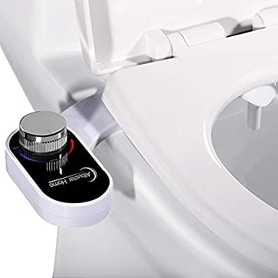 Albustar Home Bidet, Non-Electric Fresh Water Bidet Toilet Attachment, Self-Cleaning Nozzle and Reduce Toilet Paper, Black