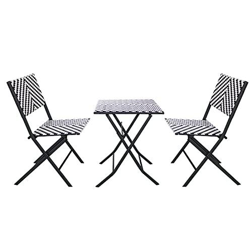 SUN RNPP Juego de Muebles de jardín, Juego de bistró Plegable de 3 Piezas, 2 sillas Plegables, Mesa de sobremesa para césped, Piscina, balcón y jardín pequeños