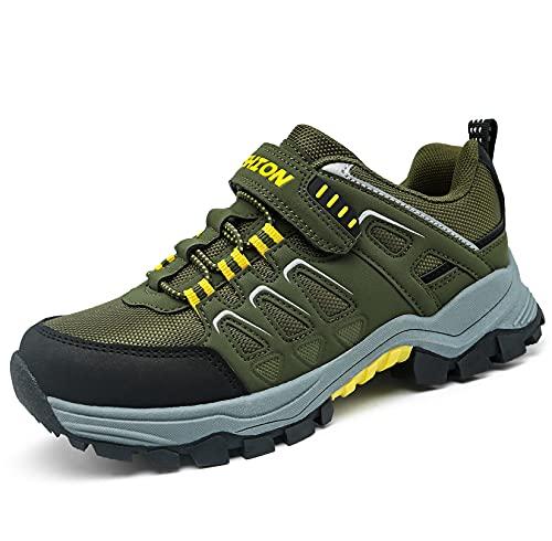 Zapatillas de Senderismo para Niño Caminando Senderismo Niño Niña Zapatillas de Trail Running Montaña Trekking Unisex niños(Z ejército Verde,38EU)