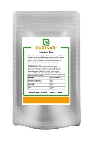 2 x 1 kg L-Arginin Base Pulver | reine Aminosäure | Hochdosiert | Nahrungsergänzungsmittel | Ohne Zusatz | 2kg