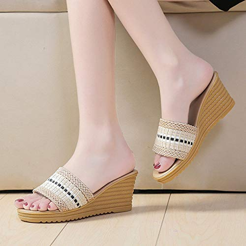 MMWW Zapatillas de Estilo para el hogar,Chanclas Gruesas del talón de la Pendiente Inferior, Sandalias y Zapatillas de Moda de Las señoras-Beige_37,Sandalias De Ducha de Casa