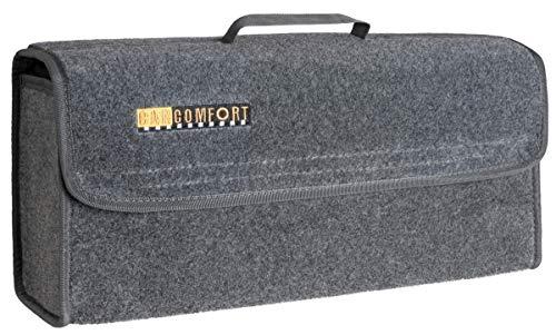 CarComfort große Kofferraum Auto KFZ Tasche L grau mit Klettverschluss+Druckknöpfen 50x21x16 cm, Werkzeugtasche, Auto Organizer
