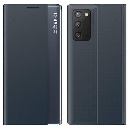 Riyeri Funda para Samsung Galaxy A71, funda ultra fina, de piel, Smart Clear View con función atril, para Samsung A71, color azul zafiro