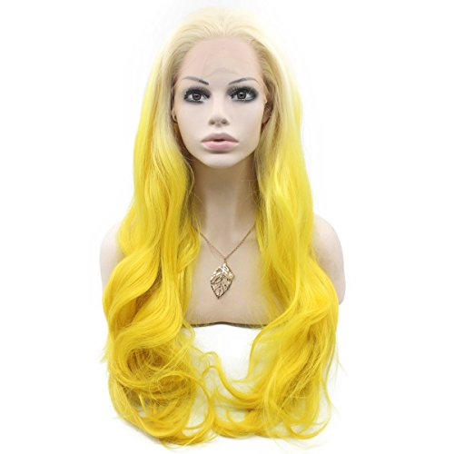 Mxangel Long Wavy Synthetic Lace Front Blond Yellow Ombre Wig Glueless Half Hand Tied Ombre Cosplay Yellow Wig