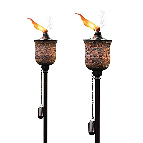 Deco Window 2 Pcs 64' Mosaic Garden Torch for Outdoor Backyard Patio Halloween Decoration Lighting Flame 4-in-1 Metal Casted Citronella Oil Lantern for Deck, Table Top & Ground Installation
