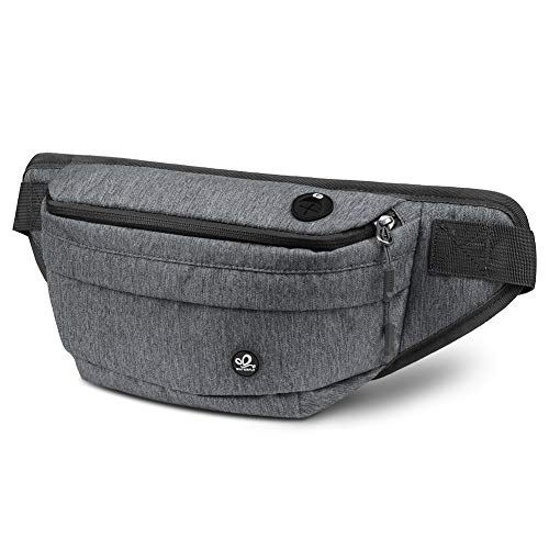 WATERFLY Fanny Pack for Men Women Water Resistant Hiking Waist Bag Pack for Workout Running Walking Traveling (Dark Gray)