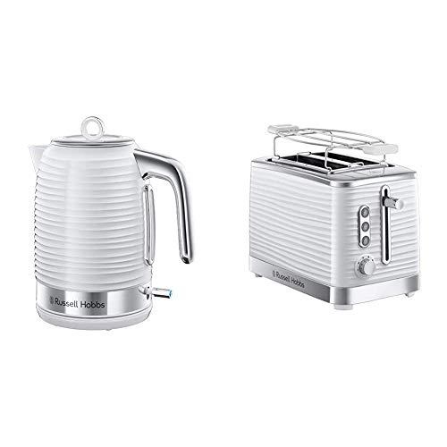 Russell Hobbs 24360-70 Wasserkocher Inspire White, 2400 Watt, 1.7l, Schnellkochfunktion, energiesparend, hochwertiger, strukturierter Hochglanz-Kunststoff, weiss & Hobbs 24370-56 Toaster Inspire White