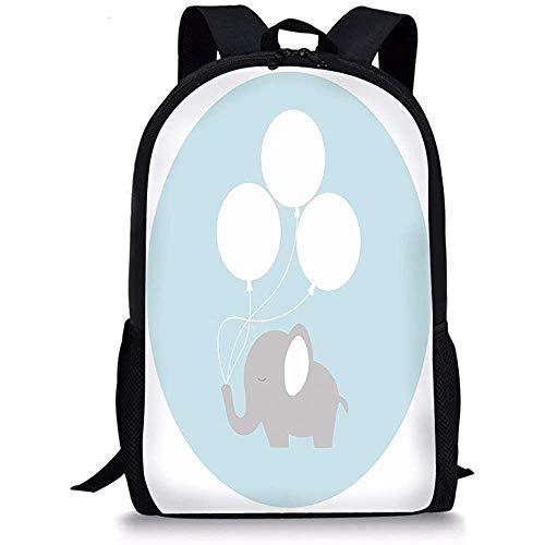 Hui-Shop Schultaschen Elefant Kinderzimmer Dekor, kleines Baby Elefant mit großen Luftballons Happy Funny Icon, lila hellblau weiß für Jungen Mädchen