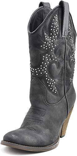 Very Volatile Women's Arienette Western Boot,Black,7.5 B US