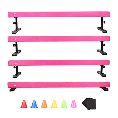 Z ZELUS Balance Beam Gymnastics for Kids, 8ft Adjustable Gymnastics Equipment for Home, Solid Suede Balance Beam with Foams and Colorful Hurdles