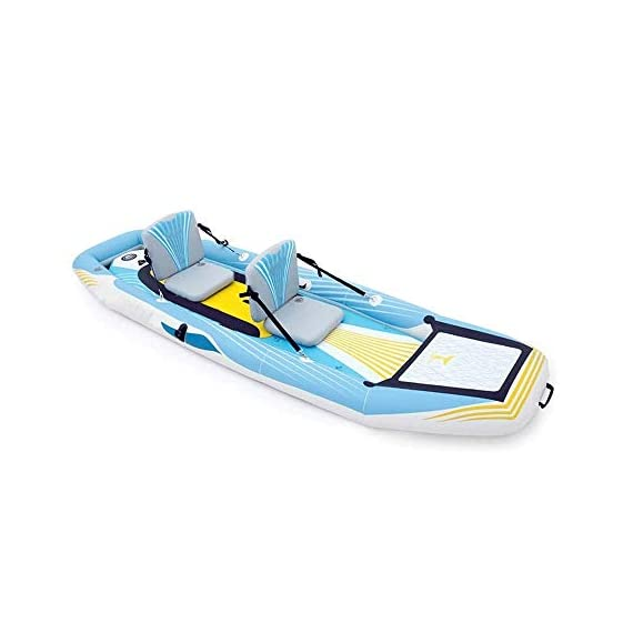 JNWEIYU Double Thickened Kayak, Two-in-one Inflatable Boat, High-Pressure Inflatable Seat, Non-Slip Deck, Elastic… 1 Sturdy two man kayak, ideal for lakes, fishing and sea shores; broad shape combines stability and comfort when out on the water Two person canoe comes with Boston valves for easy inflation and fast deflation; manometer for pressure control included The compact Canadian canoe comes with a durable polyester hull, two PVC side chambers and an ultra-durable tarpaulin shell for high stability and safety on the water