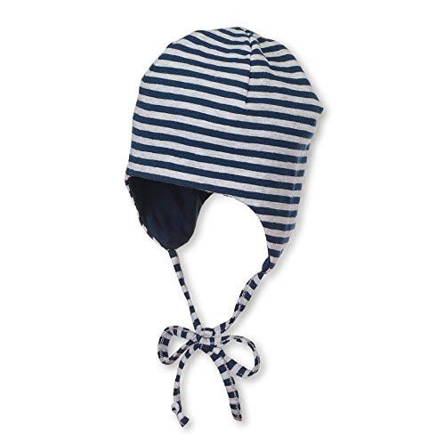 Sterntaler Wende-Mütze mit Bindebändern, Alter: 2-3 Monate, Größe: 37, Blau (Marine)