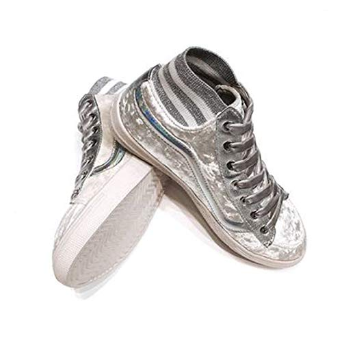 Women's Lightweight Walking Shoes High Top Lace Up Slip Resistant Breathable Easy on Travel Sneakers for Dance Silver