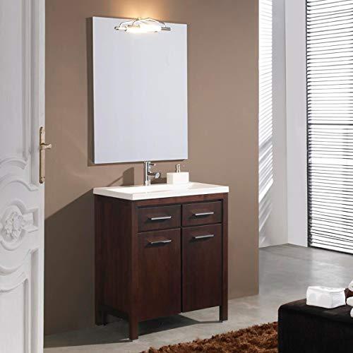 Artema Badkamermeubel met wastafel en spiegel met licht (70 cm) kleur wengé (2 deuren en 2 laden)