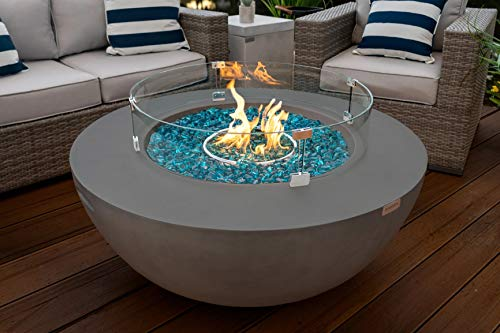 AKOYA Outdoor Essentials 42' Modern Concrete Fire Pit Table Bowl w/Glass Guard and Crystals in Gray (Clear Crystals)
