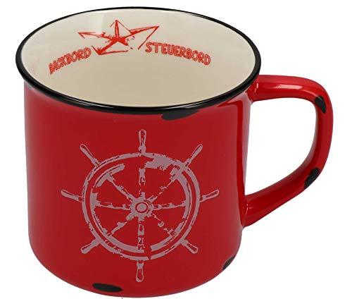 Tony Brown Maritime Porzellan Kaffeebecher mit Sprüchen und Motiven von Nordsee und Ostsee (500ml, Rot)